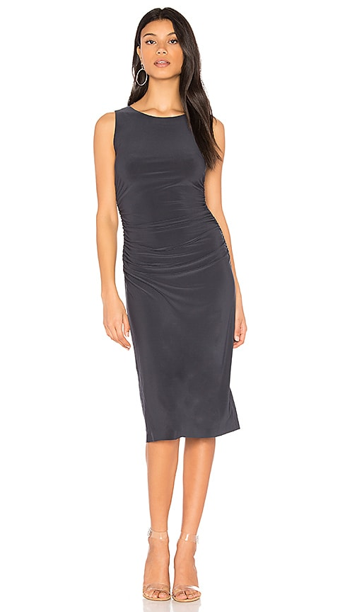 Norma Kamali Shirred Waist Dress in Charcoal