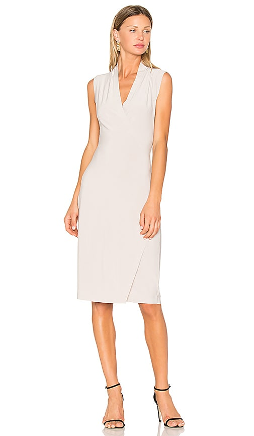 Norma Kamali Sleeveless Side Drape Dress in Light Gray