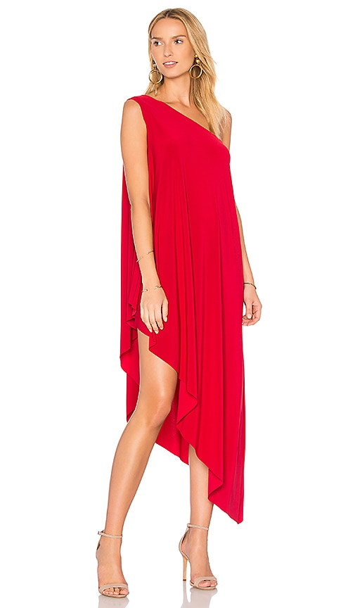Norma Kamali One Shoulder Diagonal Tunic in Red