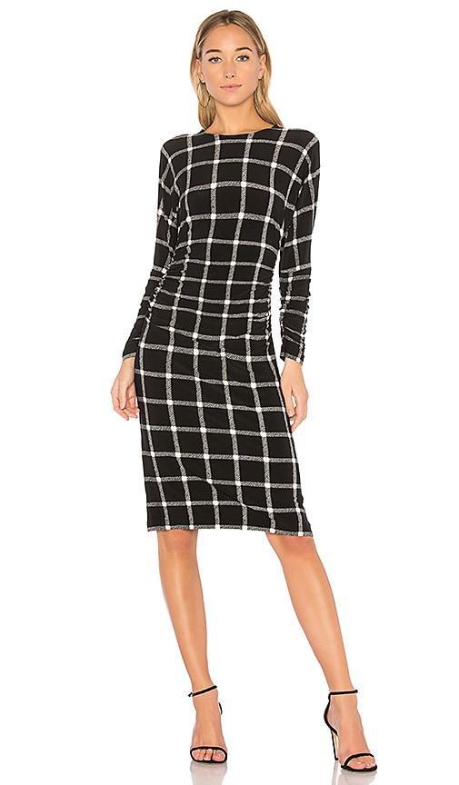Norma Kamali Dolman Shirred Waist Dress in Black & White