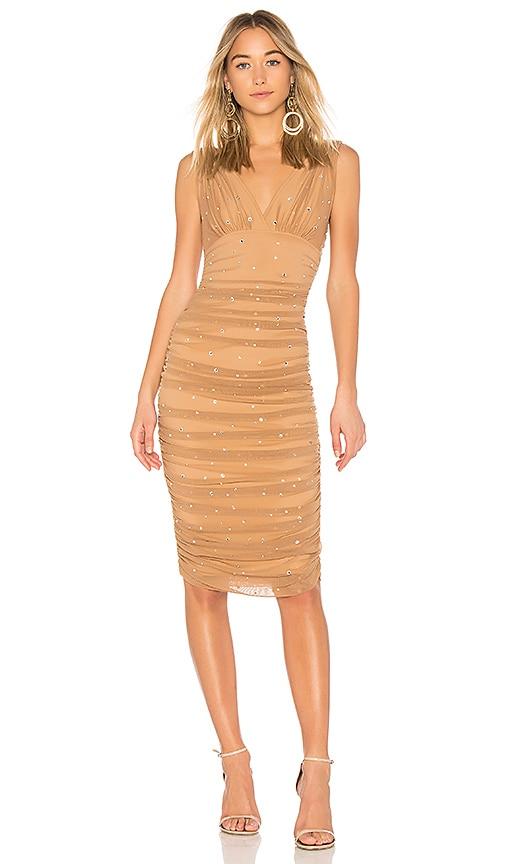 Norma Kamali X REVOLVE Tara Rhinestone Dress in Tan
