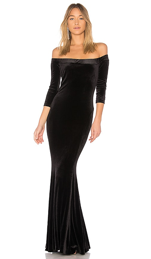 Off the Shoulder Fishtail Gown in Black. - size M (also in L,S,XS) Norma Kamali