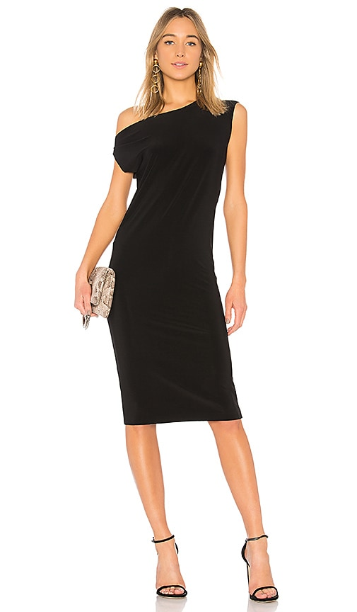 Norma Kamali Drop Shoulder Sleeveless Dress in Black