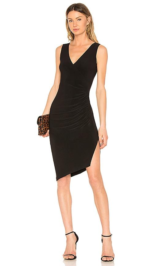 Norma Kamali Sleeveless Side Drape Dress in Black