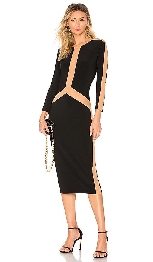 Norma Kamali Spliced Long Sleeve Dress in Black