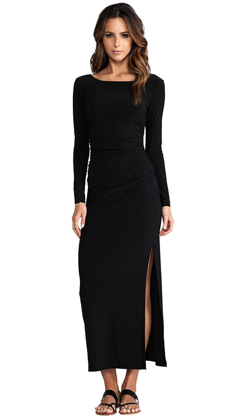 Long Sleeve Shirred Waist Maxi Gown