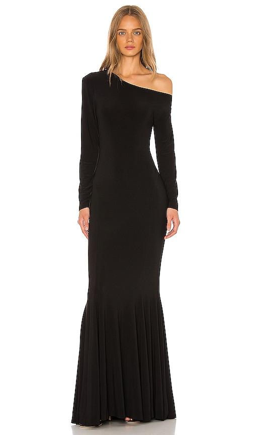 Long Sleeve Drop Shoulder Fishtail Gown