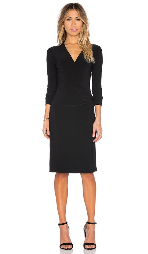 Norma Kamali KAMALIKULTURE Long Sleeve Side Draped Dress in Black