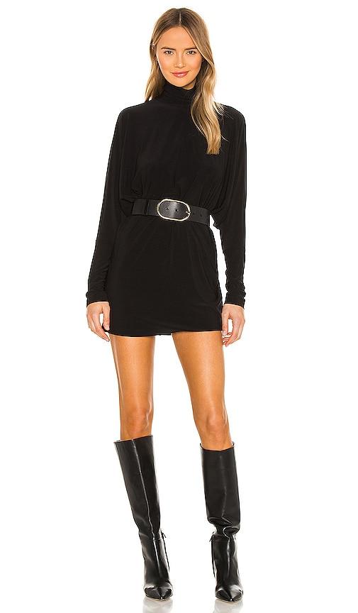 Norma Kamali Turtle Dolman Mini Dress In Black