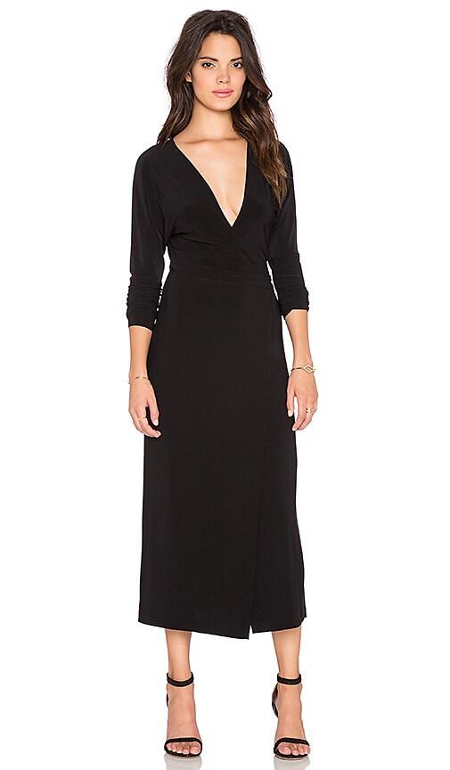 Norma Kamali KAMALI KULTURE Dolman Front Wrap Dress in Black