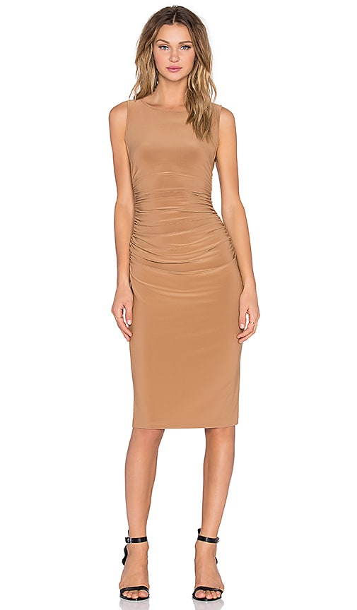 Norma Kamali Shirred Bodycon Dress in Camel