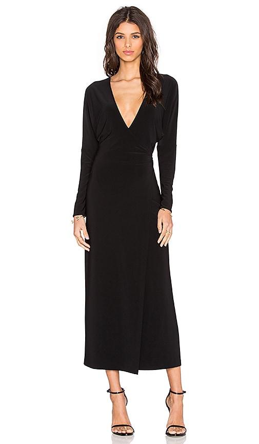 Norma Kamali Dolman Wrap Midi Dress in Black