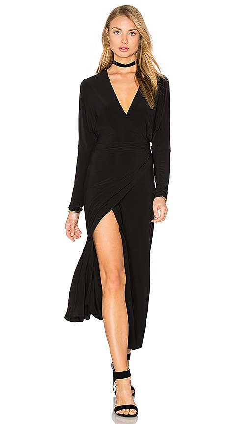 Norma Kamali Dolman Wrap Dress in Black