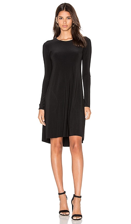Norma Kamali Long Sleeve Swing Dress in Black