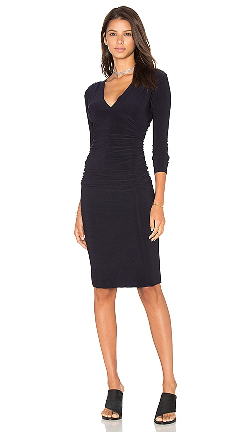 Norma Kamali Shirred Waist Dress in Navy