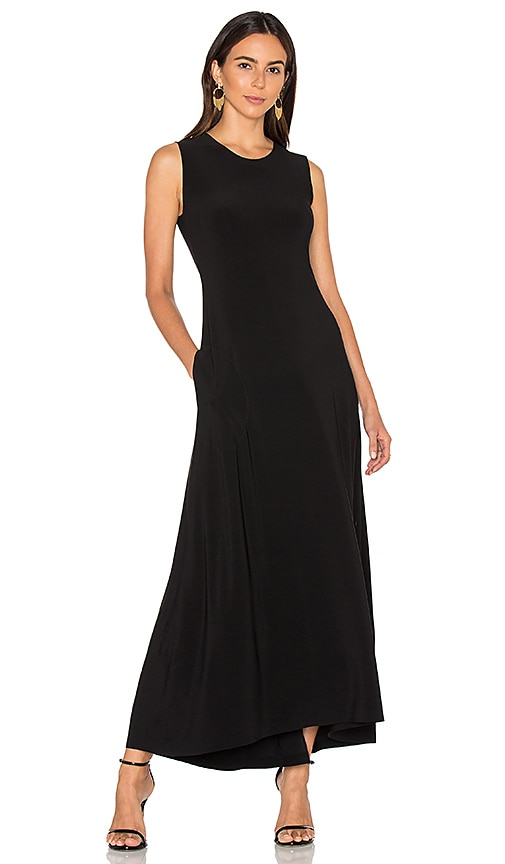 Norma Kamali Sleeveless Long Swing Dress in Black