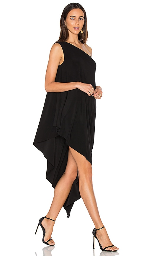 Norma Kamali One Shoulder Diagonal Tunic in Black