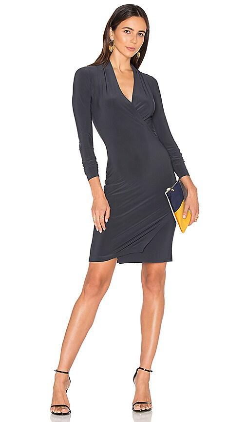 Norma Kamali Long Sleeve Modern Side Drape Dress in Charcoal