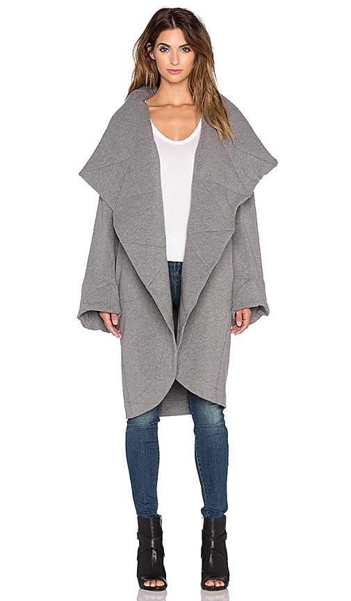 Norma Kamali Belted Shawl Collar Jacket in Dark Grey