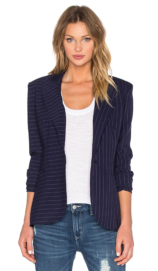 Norma Kamali Single Breasted Blazer Bonded in Blue Pinstripe