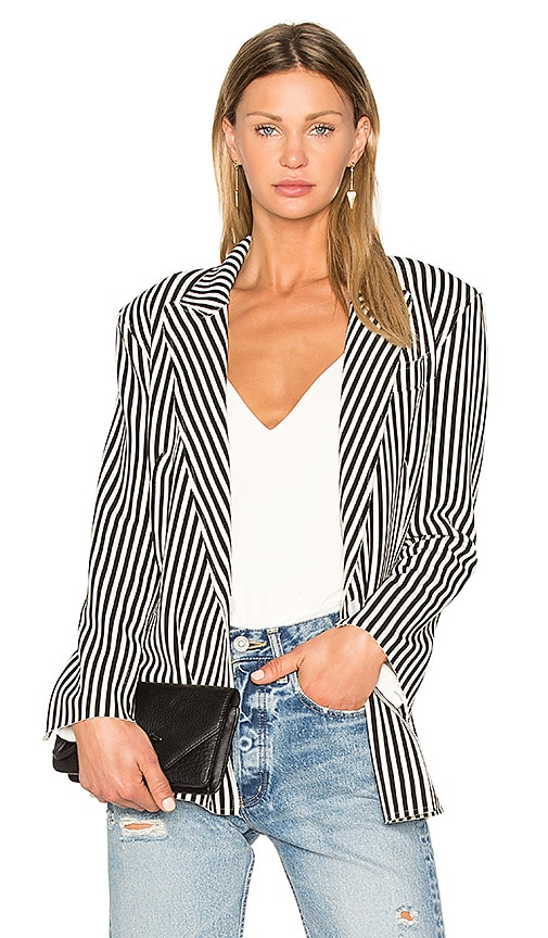 Norma Kamali Vertical Stripe Double Breasted Jacket in Black & White