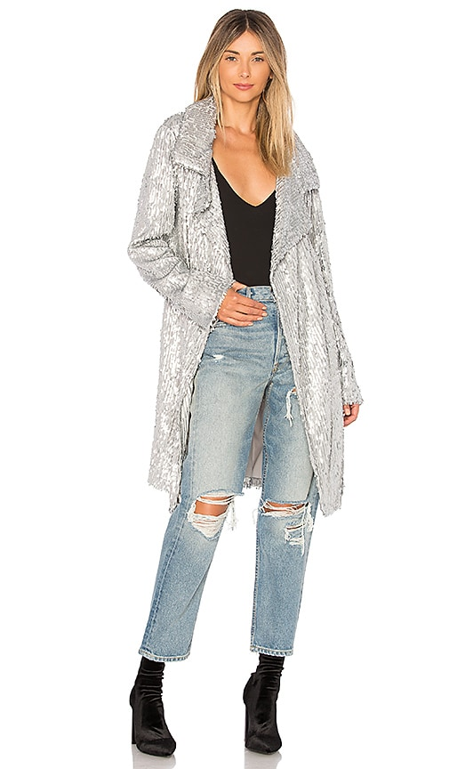 Norma Kamali All Over Sequin Jacket in Metallic Silver