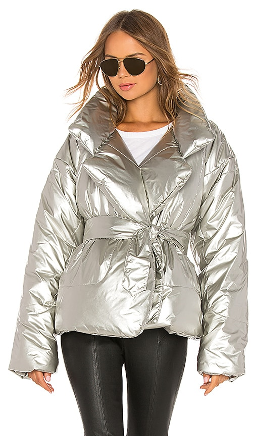 Short Sleeping Bag Coat in Silver | REVOLVE
