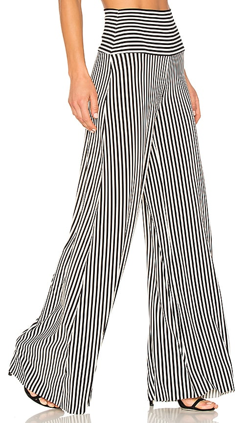 Norma Kamali Vertical Stripe Elephant Pant in Black & White