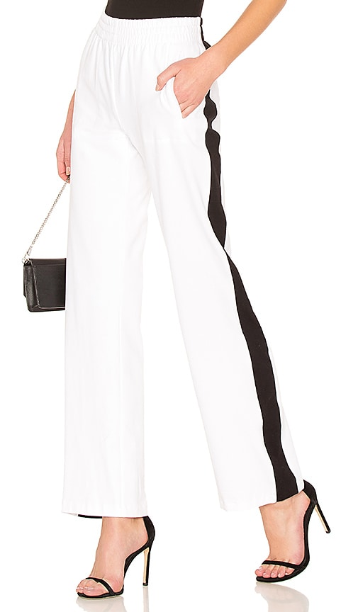 Norma Kamali Side Stripe Sweatpant in White