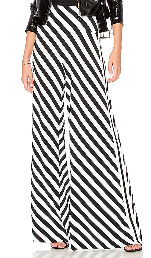 Norma Kamali Side Stripe Elephant Pant in Black & White