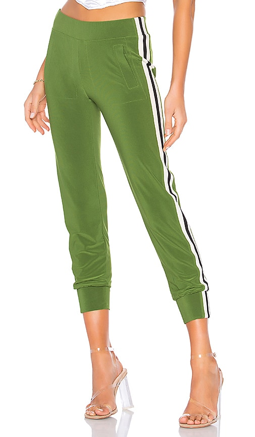 Norma Kamali Side Stripe Jog Pant in Olive