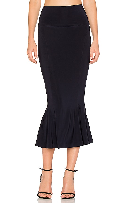 Norma Kamali Cropped Fishtail Skirt in Navy