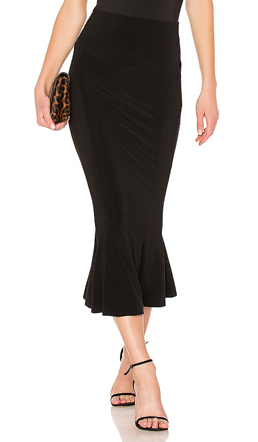 Norma Kamali Cropped Fishtail Skirt in Black