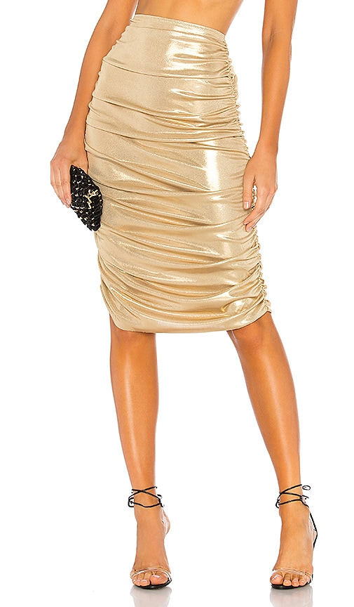 Norma Kamali Shirred Skirt in Gold | REVOLVE