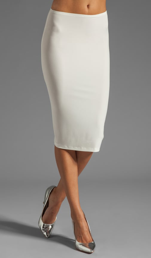 Norma Kamali Modern Vintage Jersey Pencil Skirt in Ivory & Silver ...
