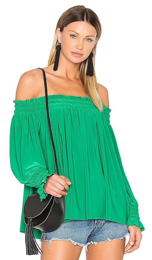 Norma Kamali Peasant Top in Green