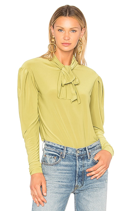 Norma Kamali Long Sleeve Bow Shirt in Green
