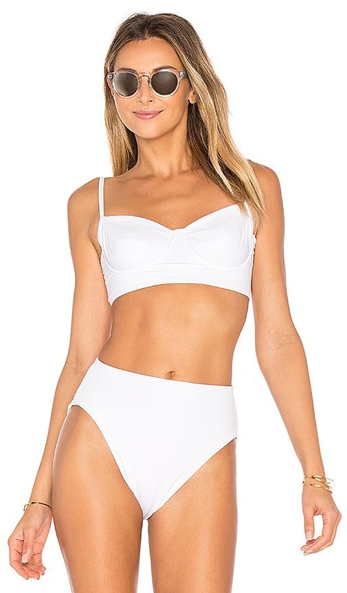 outlet boutique half off info for Norma Kamali Underwire Bikini Top in White | REVOLVE