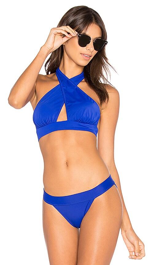 Norma Kamali Cross Halter Bikini Top in Blue