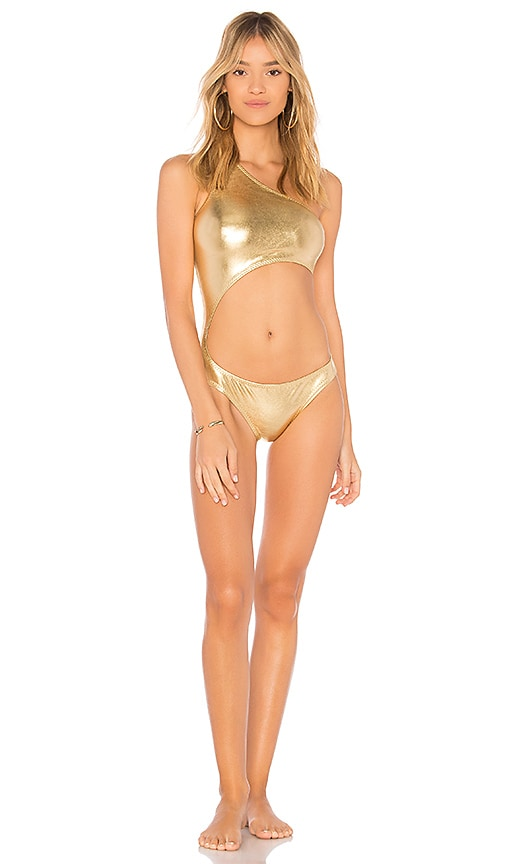 Norma Kamali Shane One Piece in Metallic Gold