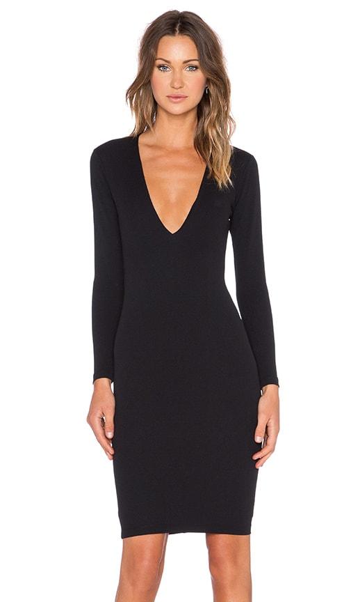 Nookie Bombshell V Neck Dress in Black