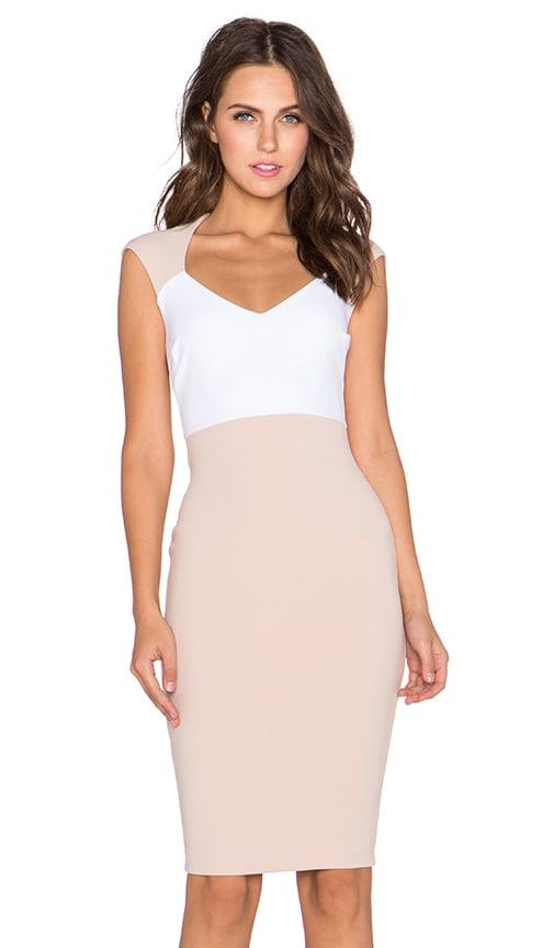 Nookie Babydoll Cap Sleeve Shift Dress in Nude & White