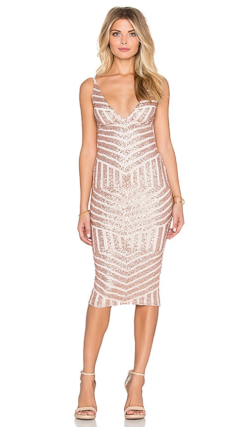Nookie Starstruck Sequin Slip Dress in Tan