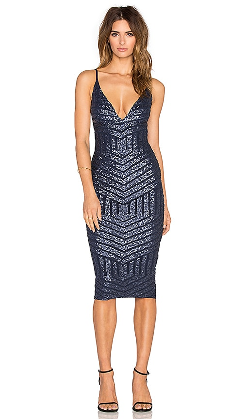 Nookie Starstruck Sequin Slip Dress in Navy