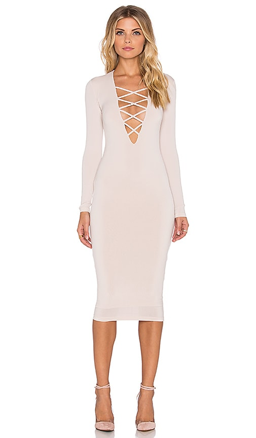 Nookie Ti Amo Lace Up Midi Dress in Nude