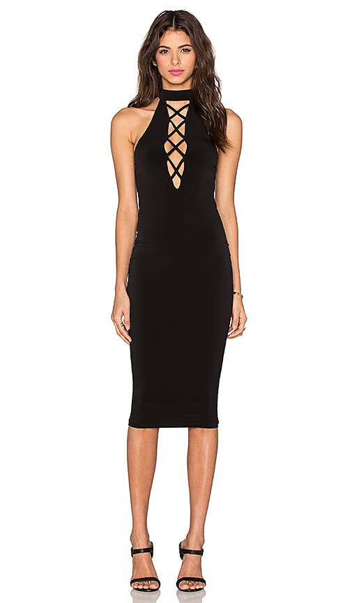 Nookie Tropicana High Neck Dress in Black
