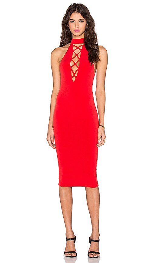 Nookie Tropicana High Neck Dress in Red