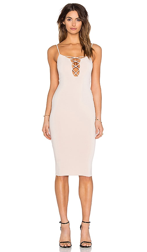 Nookie Tropicana Cross Front Dress in Beige
