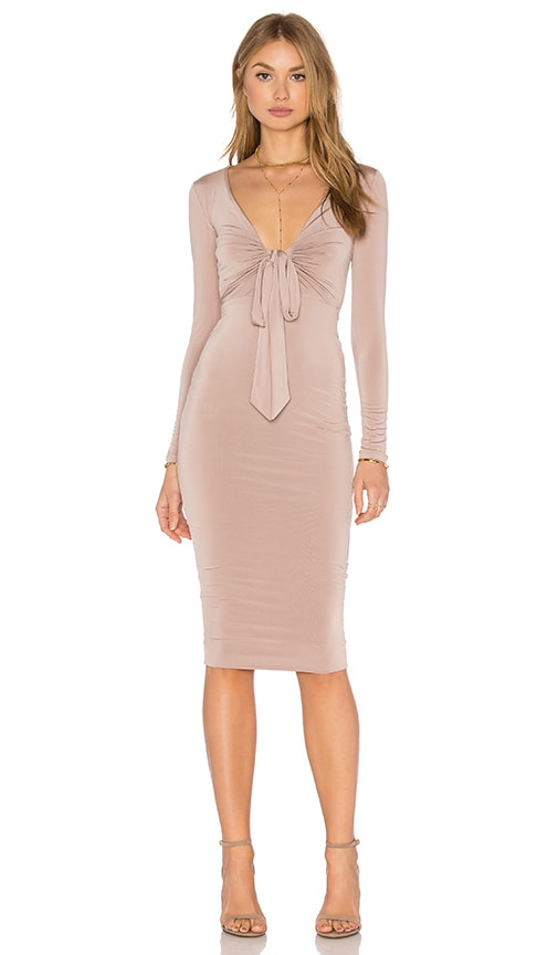 Nookie Selene Long Sleeve Midi Dress in Latte