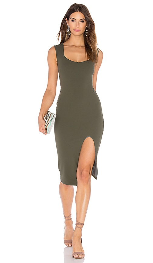 Nookie Captivate Square Neck Midi Dress in Olive